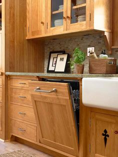 Love the cut out on the cupboard door under the sink