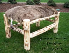 Bench upholstered with customer's own deer hide.  By Lodgepole by PineRidge custom furniture 360.750.7875.  Notice the tail remains ;)