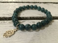 bracelet with beads, marble, silver Fatima, 8mm, DaWanda, koralesy