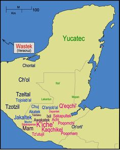"""En la imagen se puede observar el mapa con la distribución actual de las Lenguas Mayas.    En la actualidad, se utiliza la palabra MAYA para designar a una cultura que desarrolló una lengua, un sistema de escritura y un calendario propio en el area de Mesoamerica. Los representantes de dicha cultura viven actualmente en los países de México, Guatemala, Belice, Honduras y El Salvador. Sin embargo, el origen de la palabra """"Maya"""" es bastante incierto."""
