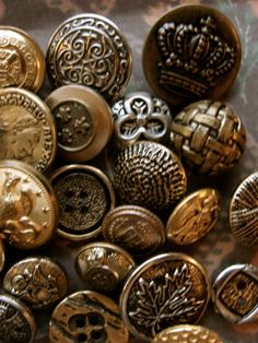 Old Metal Buttons -- I have a ton of old glass, metal and shell buttons. Need a project.
