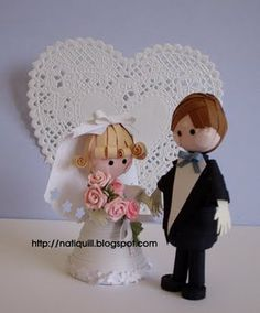 Bride and groom by Nati  http://natiquill.blogspot.com/2009/08/noivinhos.html
