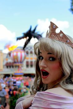 aurora face character with the maleficent steampunk dragon at the festival of fantasy parade.
