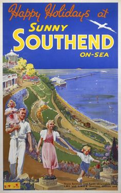 Southend on Sea Poster produced for London North Eastern Railway and London .Midland Scottish Railway to promote rail services to the coastal resort of SouthendonSea. Posters Uk, Railway Posters, Poster Prints, Train Posters, Vintage Travel Posters, Vintage Ads, British Travel, British Seaside, Leigh On Sea