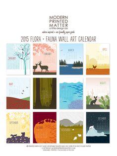 2015 Calendar / Wall / Flora & Fauna by ModernPrintedMatter Calendar Themes, Table Calendar, Calendar Wall, Bank Calendar, Creative Calendar, Cute Calendar, 2015 Calendar, Kalender Design, Adult Art Classes