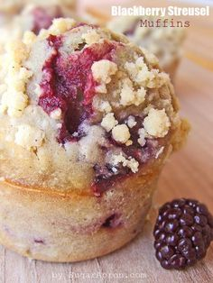 Blackberry Streusel Muffins From: Sugar Apron, please visit Muffin Recipes, Brunch Recipes, Sweet Recipes, Cocktail Recipes, Dinner Recipes, Just Desserts, Delicious Desserts, Yummy Food, Blackberry Recipes
