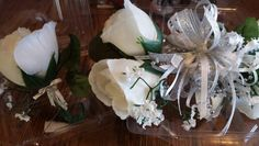 White and silver wrist corsage and boutonniere silver accent