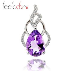 3.8ct natural stone 3.6ct purple amethyst pendant water drop cut solid 925 sterling silver luxury wedding