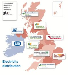 UK Distribution Network Operator (DNO) Companies map