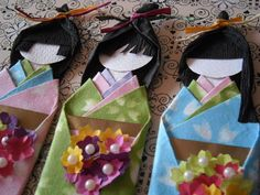Japanese Paper Origami Doll - Cherry Blossom Bride