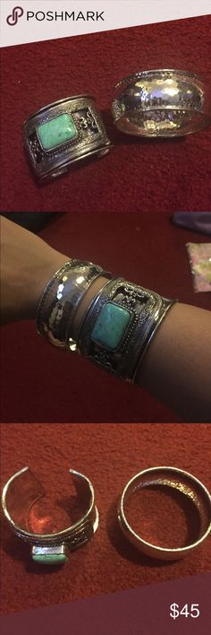Two vintage bangles. Two vintage bangles. One is a cuff other is round size medium. Please see pics Jewelry Bracelets