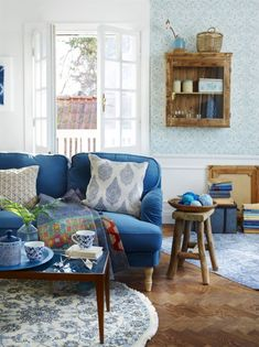 <Span> Blue Focus on large furniture and small details.  Stocksund upholstered sofa for heather Ikea.  Quilted plaid from Afroart. <br> </ Span>