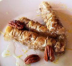 Sarailie (ca si baklava, dar rulata) Romanian Desserts, Sweet Cakes, Food To Make, Sausage, Bacon, Sweet Treats, Dessert Recipes, Cooking Recipes, Sweets