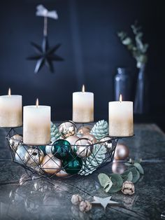Moderner Adventskranz ©Depot - a.a - Moderner Adventskranz ©Depot - Candles In Fireplace, Diy Fireplace, Pillar Candles, Christmas Time, Christmas Wreaths, Christmas Decorations, Christmas Feeling, Blue Christmas, Christmas Design