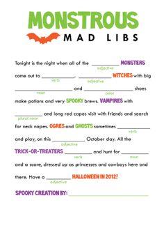 halloween mad libs halloween printablehalloween gameshalloween kidshalloween - Free Kids Printables