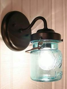 Mason jar light - Cute country light for a powder room or small area of kitchen