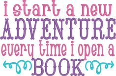 Machine Embroidery| Embroidery Design| I start a new adventure every time I open a book |Pillow Pocket Design| INSTANT DOWNLOAD | 10x6 | 7x5