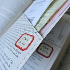 Turn a book into a pocket/receipt holder...sew the pages together....GREAT IDEA!!!  I love this lady!!!