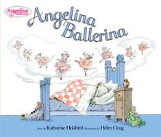 I first heard of Angelina Ballerina by Katharine Holabird through the animated series. We were in Bend, Oregon on a trip. Harriet was getting over a stomach bug and I was coming down with one. We were holed up in our hotel room eating take out and watching kids television. Harriet was just learning to walk at the time. I don't know if her first exposure to Angelina Ballerina made any lasting impression or not.