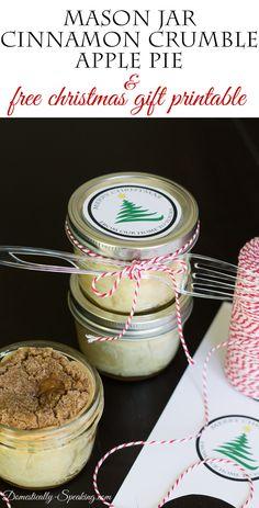 DIY Mason Jar Cinnamon Crumble Apple Pie Gift Idea