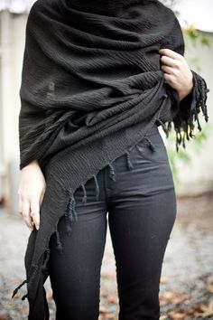 black wrap + dark denim.