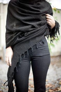 black wrap + dark denim.
