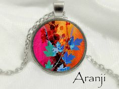 Flower pendant Flower necklace Colorful flower pendant by Aranji