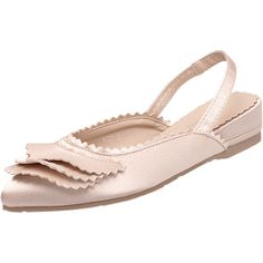 Light Pink 39 Slingback Pointed Toe Flat Shoes ($20) ❤ liked on Polyvore featuring shoes, flats, light pink flats, pointy toe flats, sling back flats, flat pointed-toe shoes and flat shoes