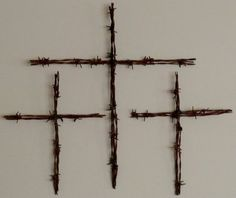 Hand Made Barbwire Cross Set of 3 Re purposed Farm Find vintage Wire Old Rustic Barbs. $24.99, via Etsy.