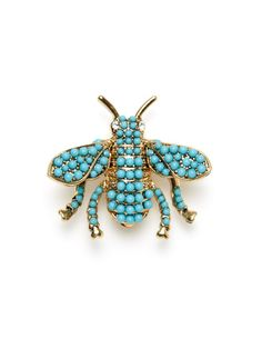 Turquoise Resin Bee Brooch by Kenneth Jay Lane on Gilt.com