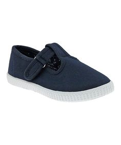 Navy Canvas T-Strap Sneaker