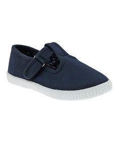 Navy Canvas T-Strap Sneaker