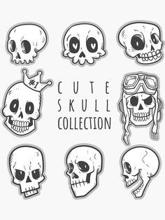 drawing 'Cute skull collection' Sticker by Skeleton Drawings, Skull Drawings, Doodle Tattoo, Doodle Art, Drawing Prompt, Drawing Sketches, Cute Skeleton, Skull Sketch, Skull Illustration