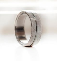 Elk antler wedding band with titanium inlay divider