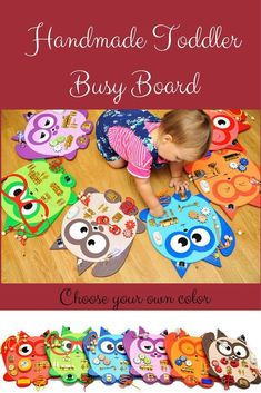 Handmade Wooden Toddler Busy Board.  Choose your color to customize, also comes with a bag for storage. #toys #educational #etsy #ad