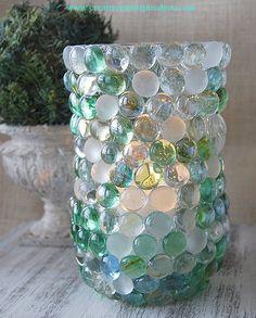 DIY Beautiful Coastal Sea Glass Vase From Dollar Store Buys !!