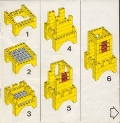 Thousands of complete step-by-step printable older LEGO® instructions for free. Here you can find step by step instructions for most LEGO® sets. Lego Duplo, Lego Castle Instructions, Lego Structures, Van Lego, Lego Machines, Classic Lego, Lego Juniors, Lego Spaceship, Lego Activities