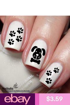 Dog Paw Bone Nail Art Sticker Water Transfer Decal by Nailodia on Etsy Dog Nail Art, Animal Nail Art, Dog Nails, Fancy Nail Art, Fancy Nails, Pretty Nails, Animal Nail Designs, Nail Art Designs, Paw Print Nails