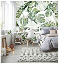 Rainforest Tropical Green Leaves Wallpaper Wall Murals, Tropical Palm Leaves Green Tropical Plants Wall Murals Wallpaper for Home Decor - Tapeten Ideen Tropical Bedroom Decor, Tropical Bedrooms, Tropical Interior, Tropical Decor, Tropical Houses, Tropical Plants, Palm Plants, Tropical Furniture, Tropical Colors