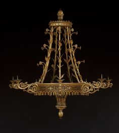 A MAGNIFICENT GILTWOOD SEVEN-LIGHT CHANDELIER.  Probably Berlin. Second Quarter Of The Nineteenth Century.