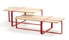 Sake Low Table - 120 x 60 cm Natural wood / Red steel | Coffee table RS BARCELONA