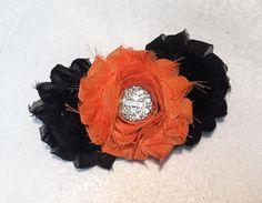 Orange & Black Shabby Hair Bow on French by ItsEspecially4U