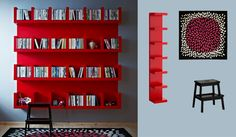 I love how they combined multiple units and paint for this dramatic effect//LACK red wall shelf units