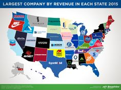 Largest Company by Revenue in Each State 2015 map