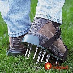 Buy your one size fits all lawn aerator sandals. Just strap on these lawn aerator sandals and get to work. Garden Supplies, Garden Tools, Garden Gadgets, Lawn Care Tips, Spike Shoes, Lawn Maintenance, Grass Seed, Garden Care, Garden Gifts