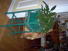 tin lined green wicker plant stand