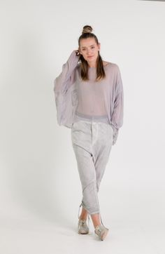 Umit Unal   Et Vous   Drop Crotch Soft Grey Pants and Silk Top