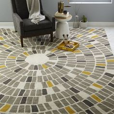 9x12 $799 I wonder if the gold and gray colors would work? Mosaic Circle Wool Rug |  west elm