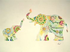 "Elephant Watercolor Painting, Colorful Design Print, Indian Style Mother Baby, 11 x 14"" on Etsy, $15.00"