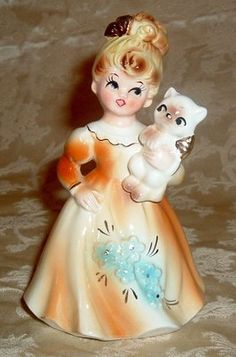 Vintage Lefton Girl Figurine Holding Kitten Cat